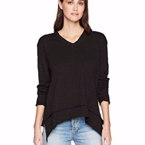 Wilt Mock Hem Long Sleeve Black Slub Long Sleeve